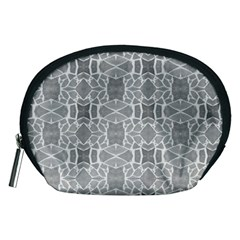 Grey White Tiles Geometry Stone Mosaic Pattern Accessory Pouch (Medium)