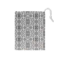 Grey White Tiles Geometry Stone Mosaic Pattern Drawstring Pouch (Medium)