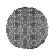 Grey White Tiles Geometry Stone Mosaic Pattern Standard 15  Premium Flano Round Cushion