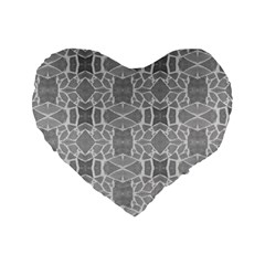 Grey White Tiles Geometry Stone Mosaic Pattern Standard 16  Premium Flano Heart Shape Cushion