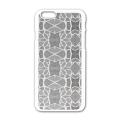 Grey White Tiles Geometry Stone Mosaic Pattern Apple iPhone 6 White Enamel Case