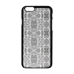 Grey White Tiles Geometry Stone Mosaic Pattern Apple iPhone 6 Black Enamel Case