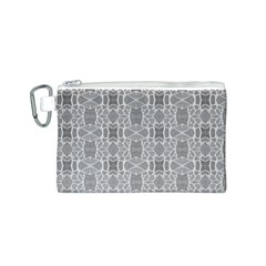 Grey White Tiles Geometry Stone Mosaic Pattern Canvas Cosmetic Bag (Small)