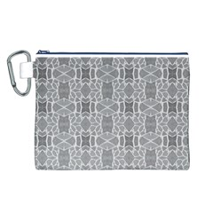 Grey White Tiles Geometry Stone Mosaic Pattern Canvas Cosmetic Bag (Large)