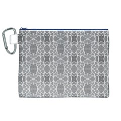 Grey White Tiles Geometry Stone Mosaic Pattern Canvas Cosmetic Bag (XL)