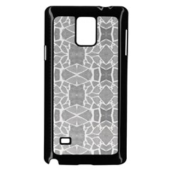 Grey White Tiles Geometry Stone Mosaic Pattern Samsung Galaxy Note 4 Case (Black)
