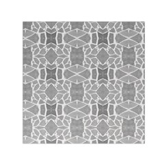 Grey White Tiles Geometry Stone Mosaic Pattern Small Satin Scarf (Square)