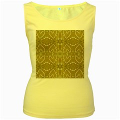 Love Hearts Beach Seashells Shells Sand  Women s Tank Top (yellow)