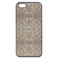 Love Hearts Beach Seashells Shells Sand  Apple Iphone 5 Seamless Case (black)