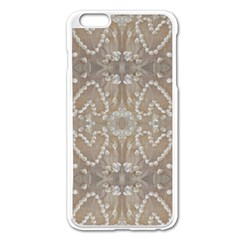 Love Hearts Beach Seashells Shells Sand  Apple iPhone 6 Plus Enamel White Case
