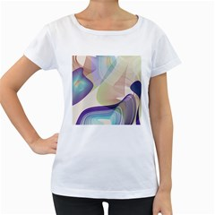 Abstract Women s Loose Fit T Shirt (white)