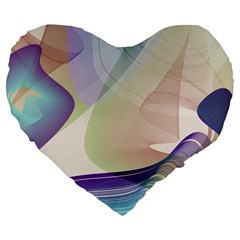 Abstract Large 19  Premium Flano Heart Shape Cushion