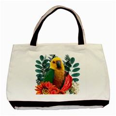 Nature Beauty Twin Sided Black Tote Bag