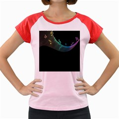 Musical Wave Women s Cap Sleeve T-Shirt (Colored)