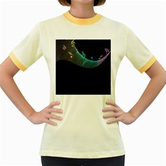 Musical Wave Women s Ringer T Shirt (colored)
