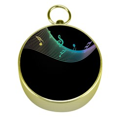 Musical Wave Gold Compass