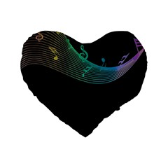 Musical Wave Standard 16  Premium Flano Heart Shape Cushion