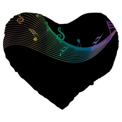 Musical Wave Large 19  Premium Flano Heart Shape Cushion