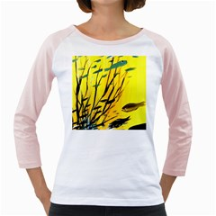 Yellow Dream Women s Long Cap Sleeve T-Shirt (White)