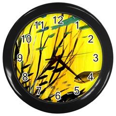 Yellow Dream Wall Clock (black)
