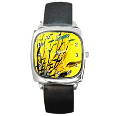 Yellow Dream Square Leather Watch