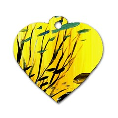 Yellow Dream Dog Tag Heart (one Sided)