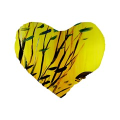 Yellow Dream Standard 16  Premium Flano Heart Shape Cushion
