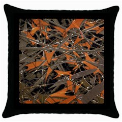 Intricate Abstract Print Black Throw Pillow Case