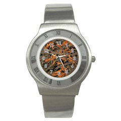 Intricate Abstract Print Stainless Steel Watch (slim)