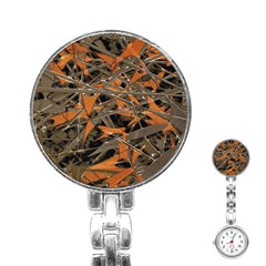 Intricate Abstract Print Stainless Steel Nurses Watch