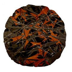 Intricate Abstract Print Large 18  Premium Flano Round Cushion