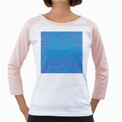 Textured Blue & Purple Abstract Women s Long Cap Sleeve T-Shirt (White)
