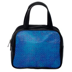 Textured Blue & Purple Abstract Classic Handbag (one Side)