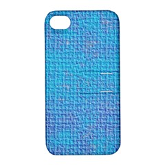 Textured Blue & Purple Abstract Apple Iphone 4/4s Hardshell Case With Stand