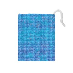 Textured Blue & Purple Abstract Drawstring Pouch (medium)