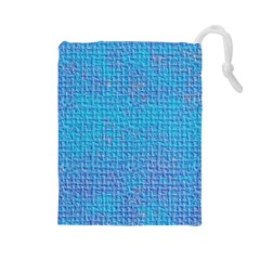 Textured Blue & Purple Abstract Drawstring Pouch (Large)