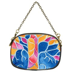 Yellow Blue Pink Abstract  Chain Purse (one Side)