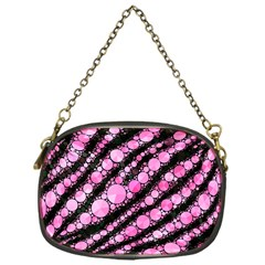 Pink Black Tiger Bling  Chain Purse (one Side)