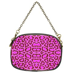Florescent Pink Animal Print  Chain Purse (one Side)
