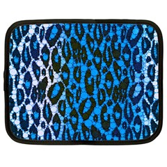 Florescent Blue Cheetah  Netbook Sleeve (large)