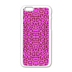 Florescent Pink Animal Print  Apple Iphone 6 White Enamel Case