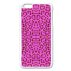 Florescent Pink Animal Print  Apple Iphone 6 Plus Enamel White Case