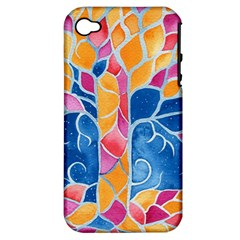 Yellow Blue Pink Abstract  Apple Iphone 4/4s Hardshell Case (pc+silicone)