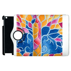 Yellow Blue Pink Abstract  Apple Ipad 2 Flip 360 Case