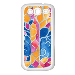 Yellow Blue Pink Abstract  Samsung Galaxy S3 Back Case (white)