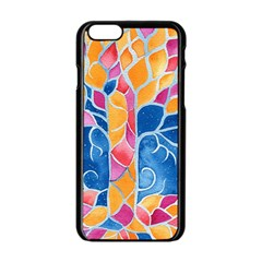 Yellow Blue Pink Abstract  Apple iPhone 6 Black Enamel Case