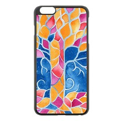 Yellow Blue Pink Abstract  Apple Iphone 6 Plus Black Enamel Case