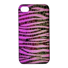 Hot Pink Black Tiger Pattern  Apple Iphone 4/4s Hardshell Case With Stand