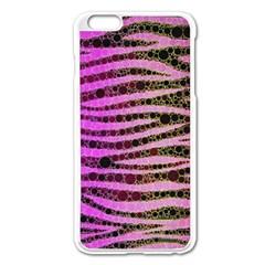 Hot Pink Black Tiger Pattern  Apple Iphone 6 Plus Enamel White Case