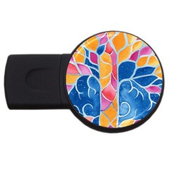 Yellow Blue Pink Abstract  4gb Usb Flash Drive (round)